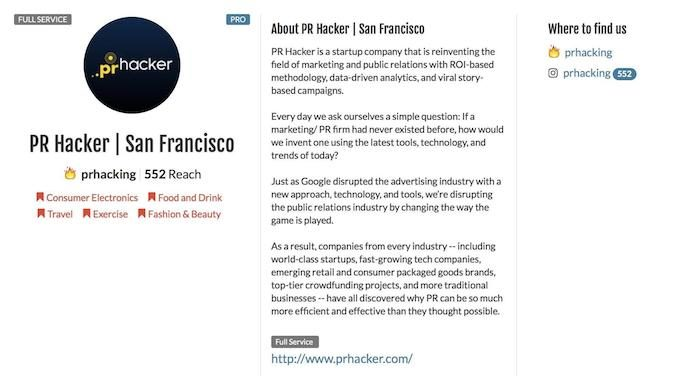 PRHacker Profile on Influencer.co