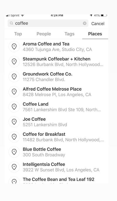 Instagram Keywords Generate Lists of Locations for Businesses