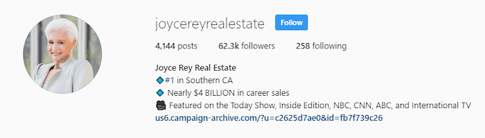 Joy Rey Real Estate Instagram Profile