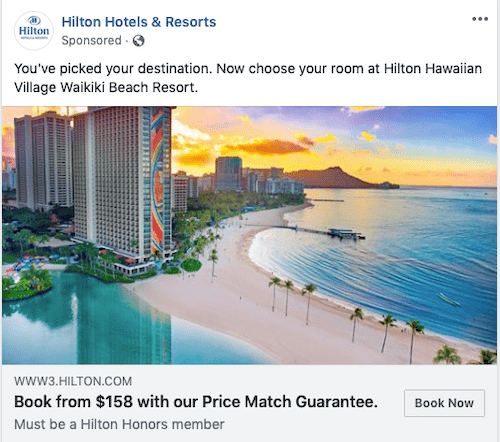 CTA Facebook Ads Book Now Option Example