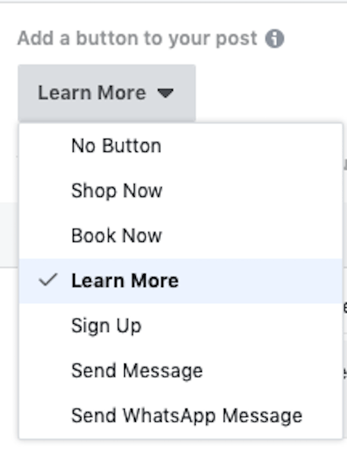 Facebook Ads CTA Options Dropdown List
