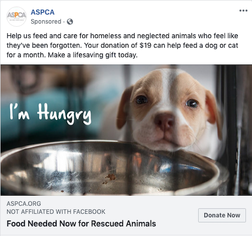 ASPCA Facebook Ad Example