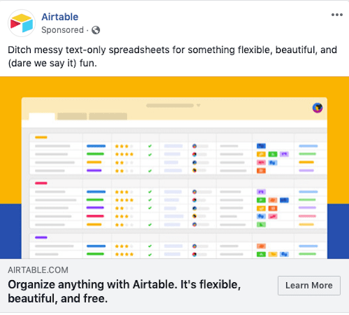Airtable CTA Facebook Ads Learn More Option Example