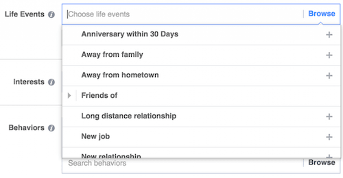 Facebook Targeted Audience Life Events