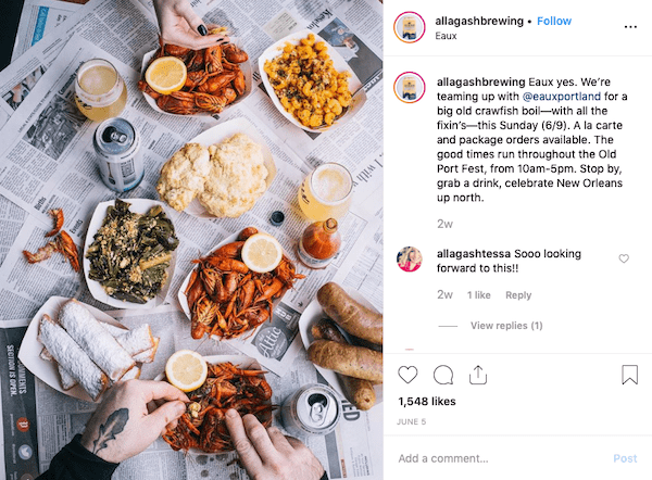 allagash brewing food and beer instagram marketing post