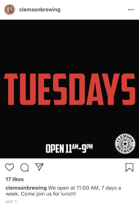 clemson brewing tuesday instagram post