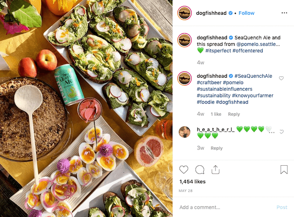 dogfish head food and beer instagram post