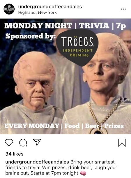 underground coffee and ales funny instagram marketing