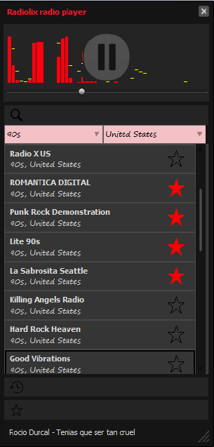 Radiolix radio player Screen shot