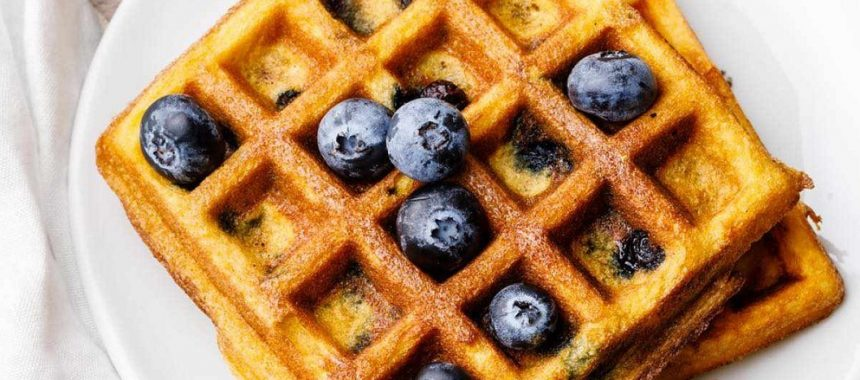Blueberry Coconut Flour Waffles (Dairy & Gluten-Free)