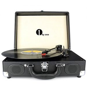 1byone Black Bluetooth Turntable