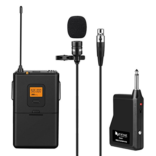 Fifine 20-Channel UHF Wireless Lavalier Lapel Microphone System with Bodypack Transmitter, Mini XLR Female Lapel Mic and Portable Receiver, 1/4 Inch Output. Perfect for Live Performance. (K037)
