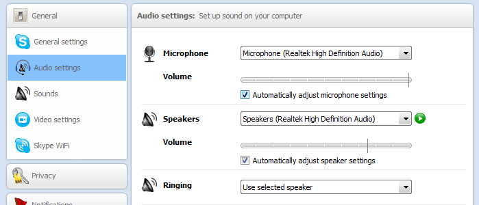Audio Settings of Your Skype