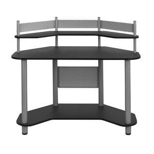 Calico Designs 55123 Study Corner Desk, Silver with Black