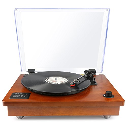 1byone Belt Driven Bluetooth Turntable with Built-in Stereo Speaker, Vintage Style Record Player, Vinyl-to-MP3 Recording, Natural Wood (Wood)