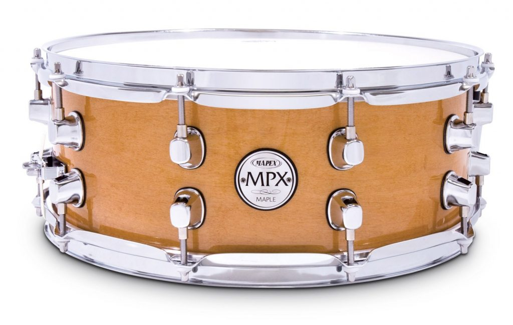 Mapex MPX14 inch x 5.5 inch all maple snare drum in natural finish with chrome hardware