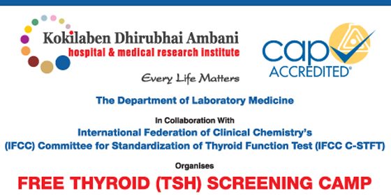 Kokilaben Dhirubhai Ambani Hospital organises a FREE Thyroid Screening Camp