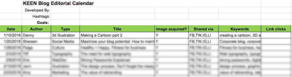 Corporate blog editorial calendar