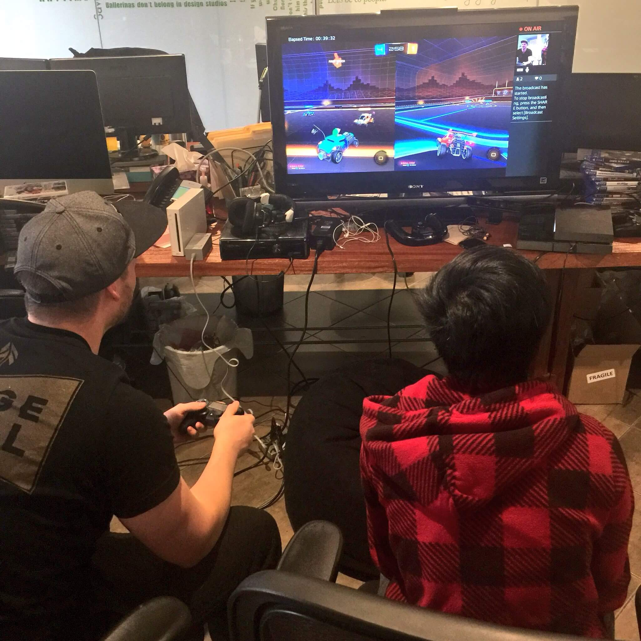 Nathan and Renee playing Rocket League Extra Life 2016