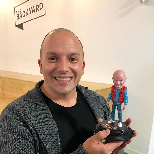 Our videographer, @dannyvalimaki, designed and 3D printed a bobble head of @matt.aubin as Marty McFly and we are all dying over it. Best. Gift. Ever.