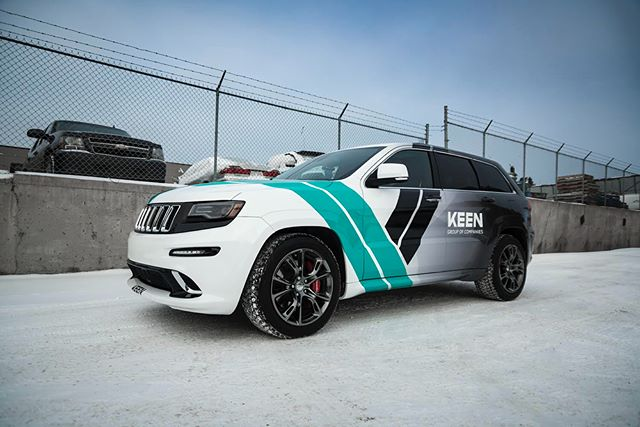 Our team designed this fancy schmancy vehicle wrap for @matt.aubin's Jeep, then our sister company @keenprints printed it. Lookin' pretty snazzy, if we do say so ourselves!