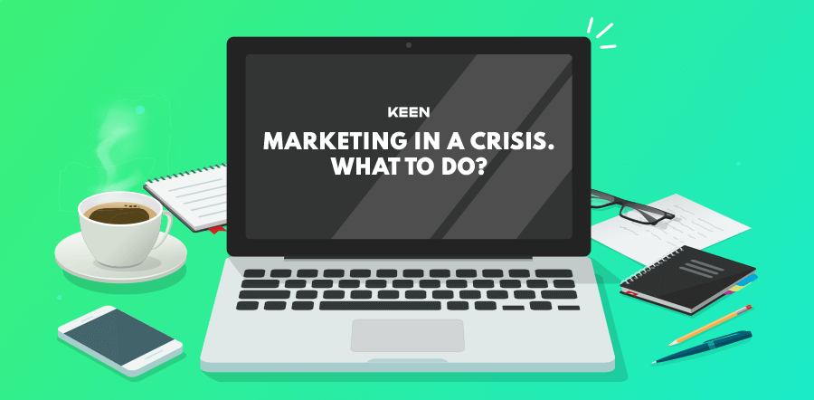"""Computer illustration displaying text """"Marketing In A crisis - what to do?"""""""