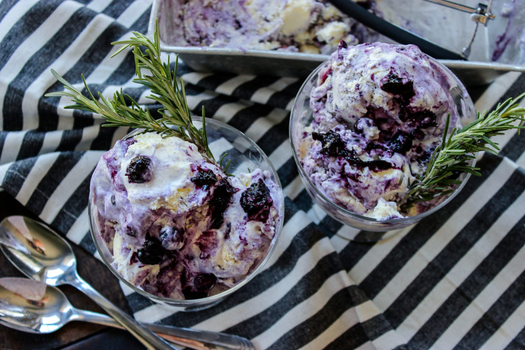 blueberry and rosemary ricotta ice cream