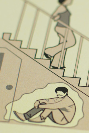 Card detail for Man's Survival Guide to Marriage, on how to get out of chores by hiding under the stairs