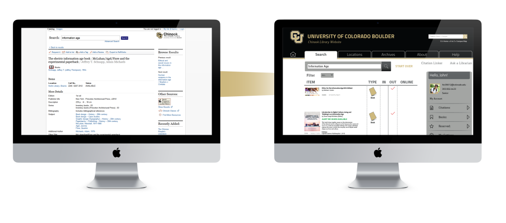 This is a comparison of the old site to the new site, showing the book results.