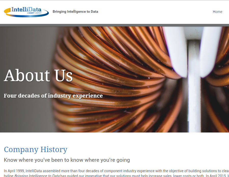 Powerful hero images on every internal page of the IntelliData site