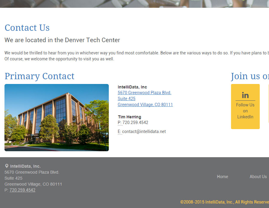 The fresh-looking contact page complete with google maps directions