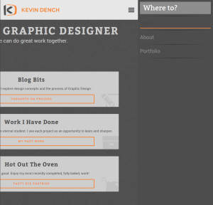 This is the iPad version of the static Kevin Dench Design website