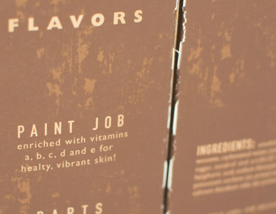 Side detail of the flavors on the Restore Cola bottle carrier packaging done by Kevin Dench