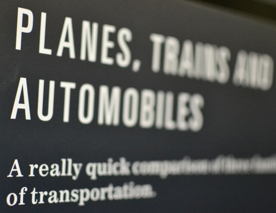 Quick comparison of planes trains and automobiles