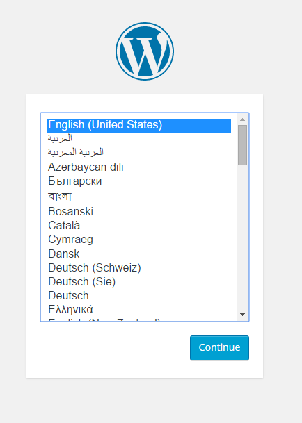 The WordPress install screenshot
