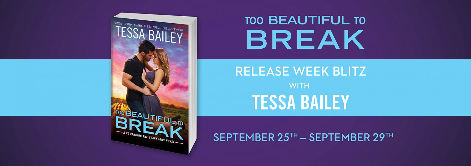 Release Week Blitz, Review, Author Top Five, Teasers & Giveaway: Too Beautiful to Break (Romancing the Clarksons #4) by Tessa Bailey