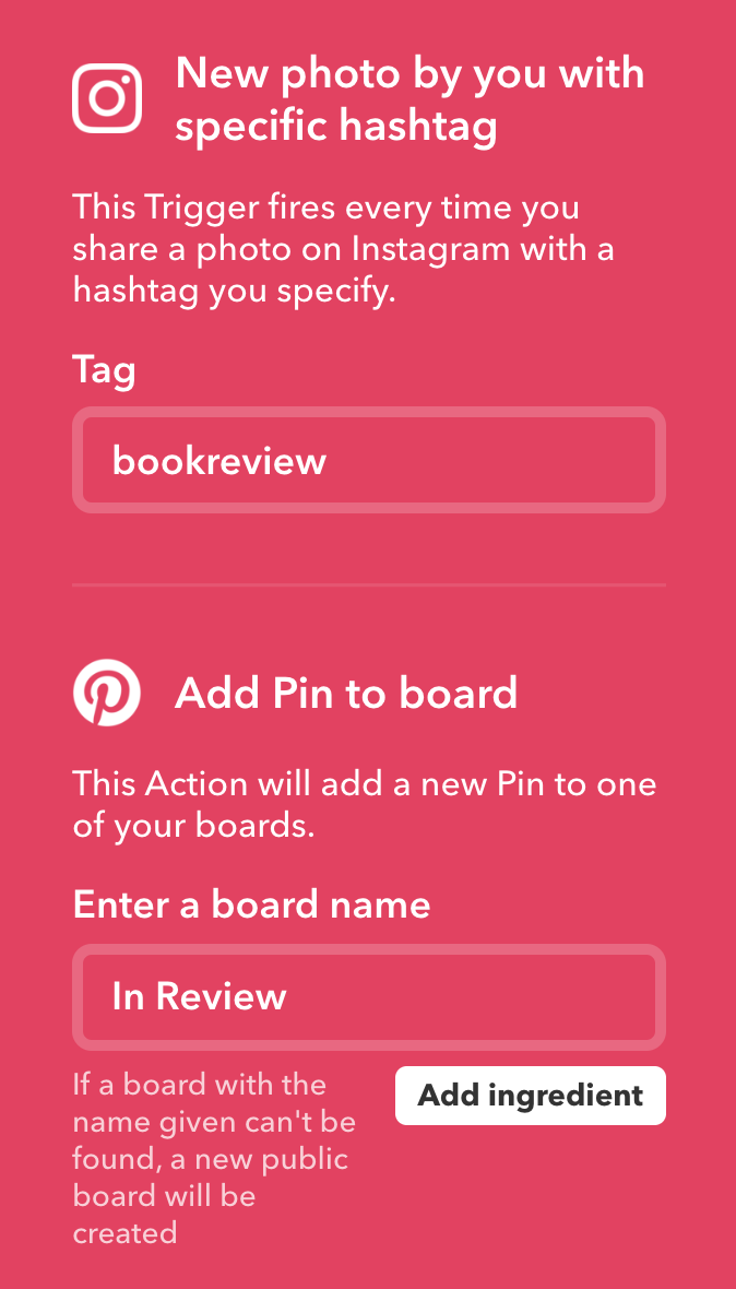 IFTTT Insta to Pinterest
