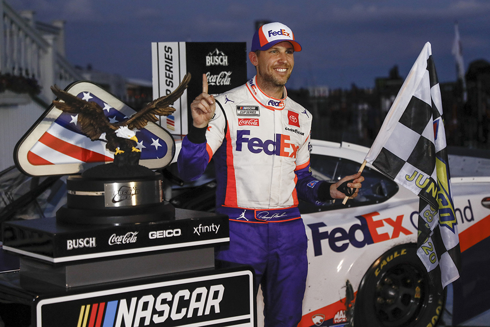 Denny Hamlin wins second leg of historic NASCAR Cup doubleheader at Pocono