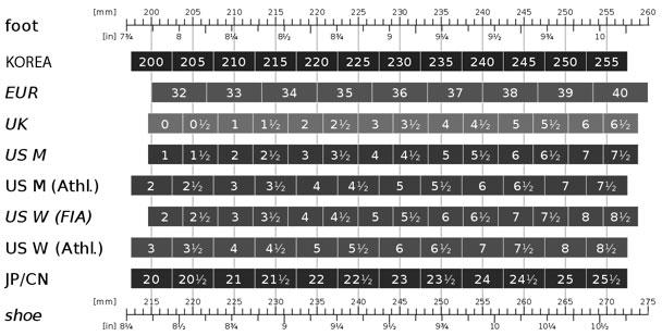 Korean Shoe Size Conversion Chart Junior