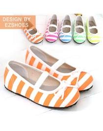 Fluorescent Stripe Ribbon Flat Shoes