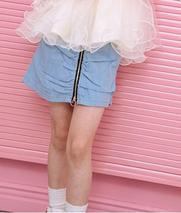 Shirring Denim Skirt
