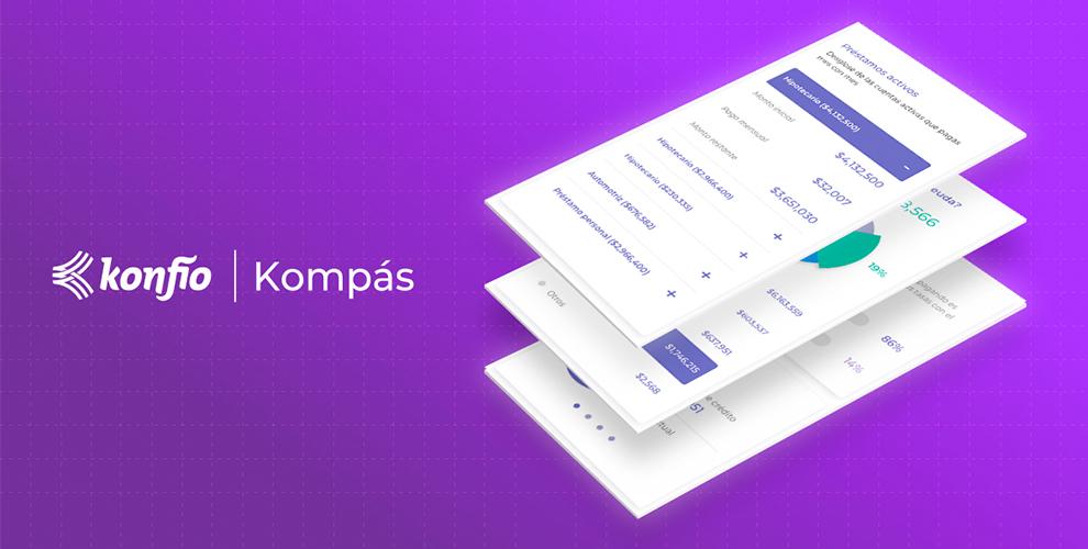 Pantallas mostrando el historial de crédito con Kompás