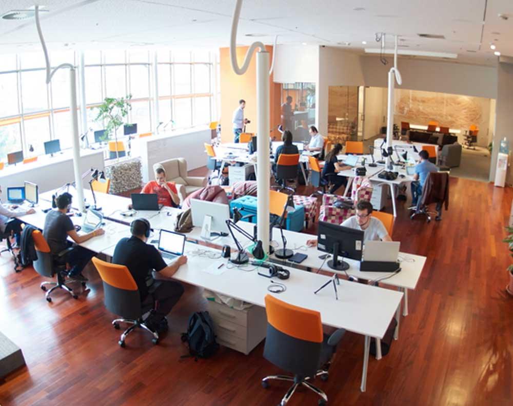 Oficinas de una fintech y trabajadores en sus computadoras desarrollando los servicios que ofrecen