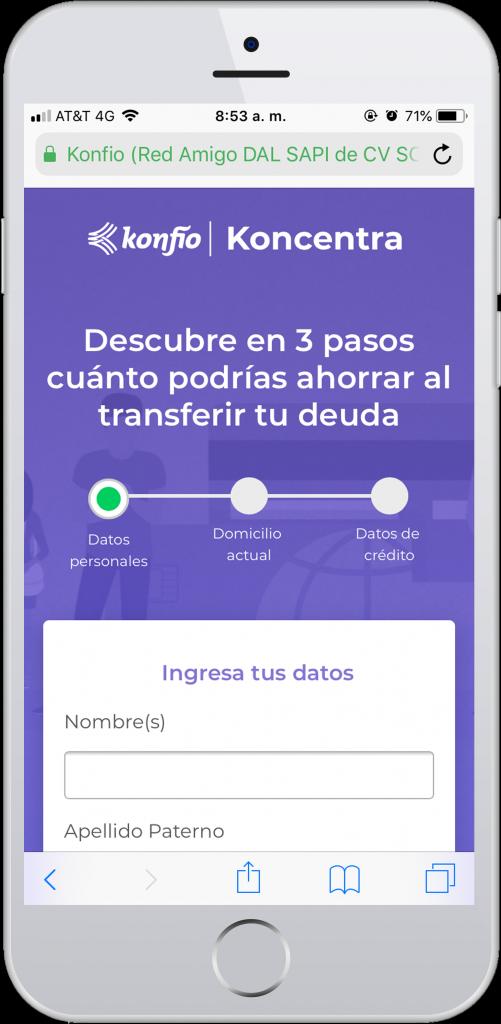 Iphone pantalla Koncentra para transferir deuda a crédito
