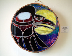 Stained Glass Drum Raven