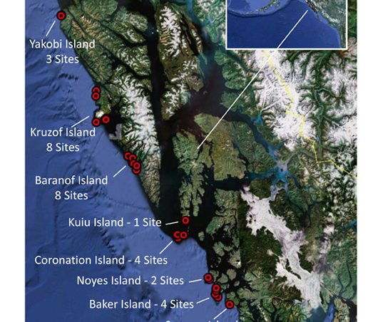 A map of the survey sites.