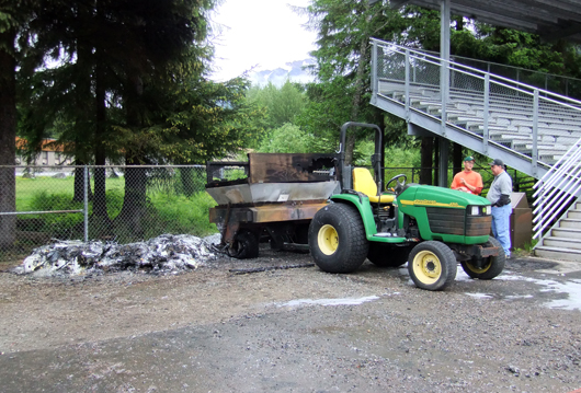 A spreader was among the damaged equipment.