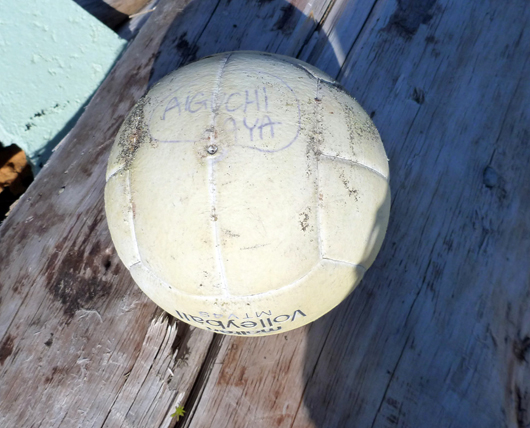 NOAA scientists found this volleyball in Astrolabe Bay, north of Cape Spencer, during their recent survey of marine debris in Southeast Alaska. NOAA is trying to determine if the ball is associated with the Japan tsunami.