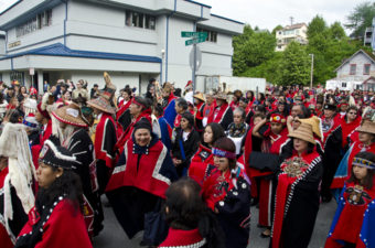Hundreds of Native Alaskans gathered in downtown Juneau for the Grand Entrance for Celebration 2012.