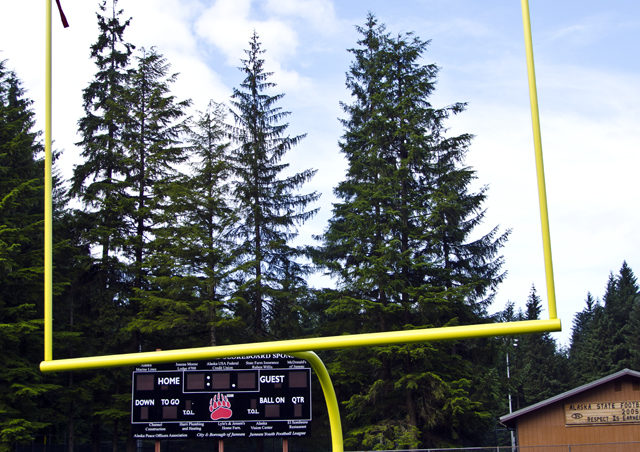 The completed goal post at Adair-Kennedy Memorial Field.